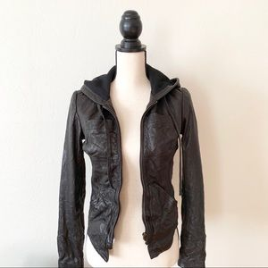 EVER Fitted Leather Jacket with Hood Size P XS